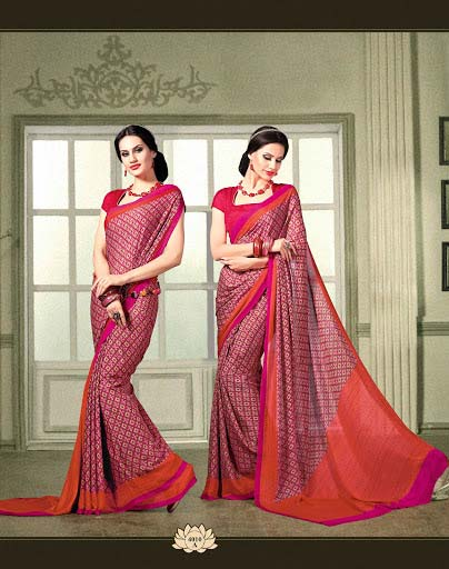 Dark Magenta French Crepe Saree