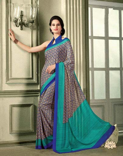 Paramount Blue French Crepe Saree