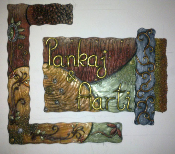 Home decor paintings designer name plates ceramic murals for Mural name plate designs