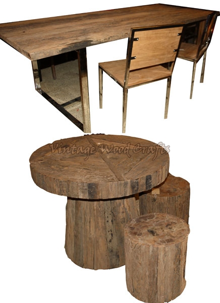 Log Wood Dining Table Set. Wooden Dining Table Set Log Wood Dining Table Set Contemporary