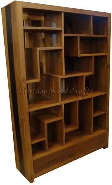 Wooden bookshelves bookshelf with orissa work