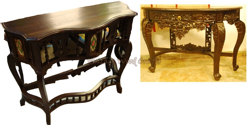 Wooden Console Tables Wooden Colonial Console Table
