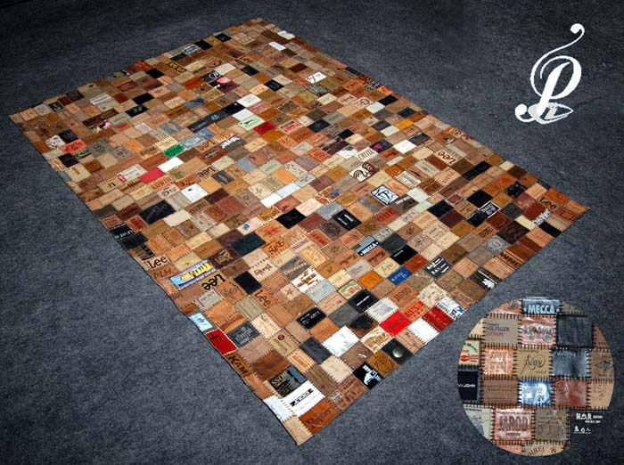 Amazing Denim Labels Recycled Rug (Multi)