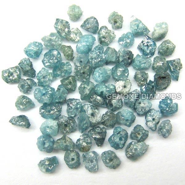 Natural Raw Uncut Diamond Beads Blue Diamond Beads