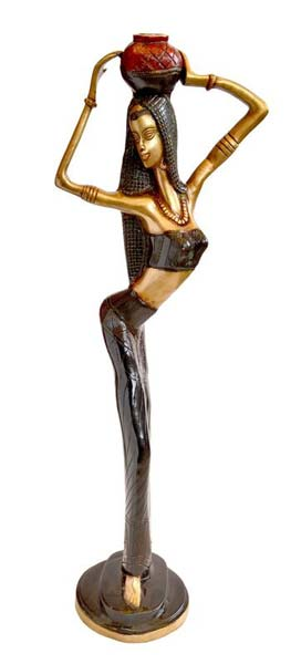 Brass African Lady Statue