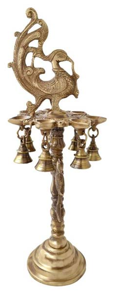 Brass Peacock Diya Stand