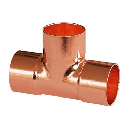 Copper tee plain equal swaging