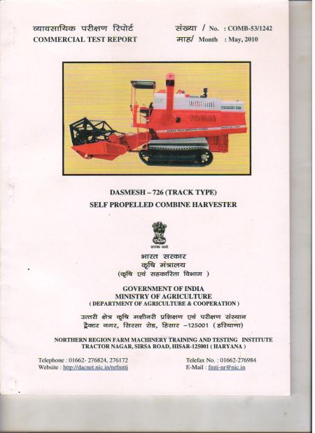 Test Report Track Combine Harvester (726) (Tested by Govt. of India Ministry of Agriculture)