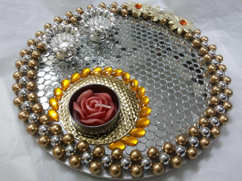 Pin thali manufacturers india handicrafts works chennai for Aarti dish decoration