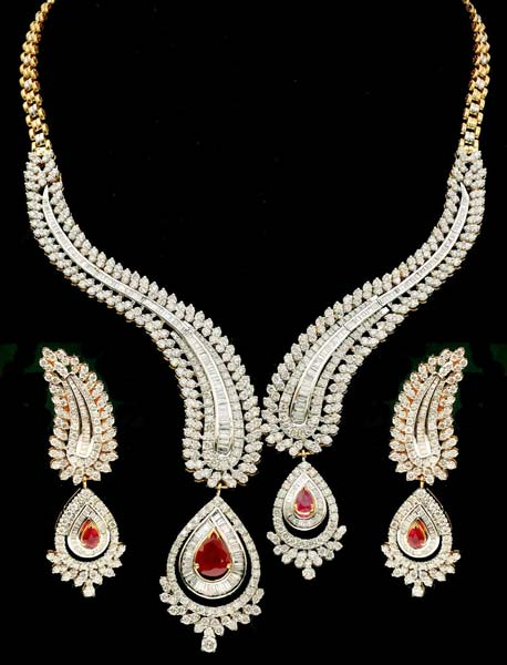 Diamond Gemstone Necklace Set (CWDGGN0002)