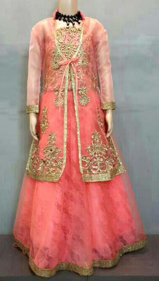 ahaarya beige red lehenga choli girls pr 21055