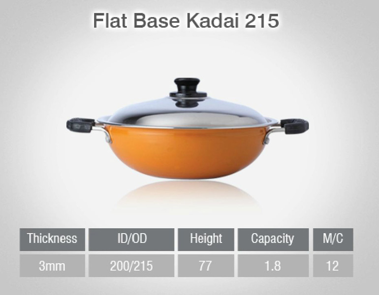 Non Stick Flat Base Kadai