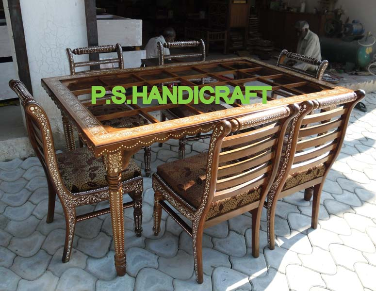 Wooden Inlaid Dining Table Set