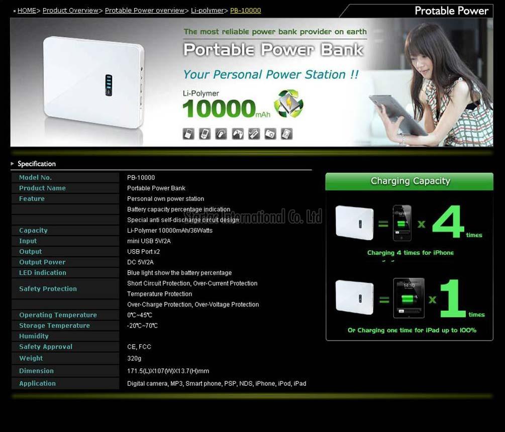 Lithium Power Bank (EN-10000)