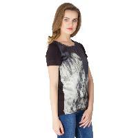 Digital Printed Black Cotton Tops (64-0788-4)