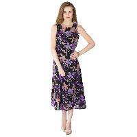 Floral Printed Long One Piece Dresses (WD814PUBK-1)