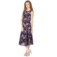 Floral Printed Long One Piece Dresses (WD814PUBK-2)