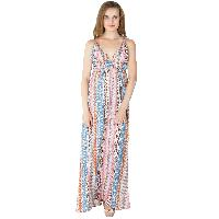 Ladies Polyester Strappy Maxi Gowns (ED10300VC-1)