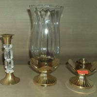 Brass Candle Stand with Glass Chimni