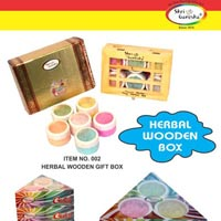 Wooden Herbal Gulal Gift Box