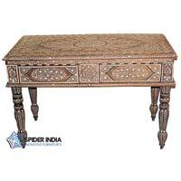 Bone Inlay Console Teak Wood Table