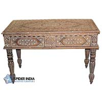 Teak Wood Bone Inlay Table