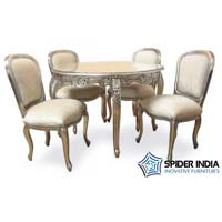 Carved Round Silver Inlay Dining Table Set