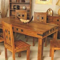 Jali Block Wooden Dining Tables Set