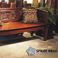 Reclaimed Teak Carved Bench 3 Seat