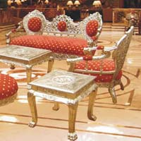Royal White Metal Sofa Set