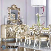 White Metal Inlay Dining Set