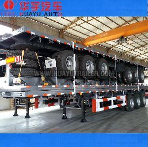 Three Axle flatbed  container semi-trailer with Platform and twist lock