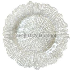 white Reef Glass Charger Plate
