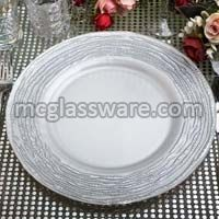 Arizona Silver White Glass Charger Plates