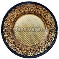 Babylon Gold Black Glass Charger Plates