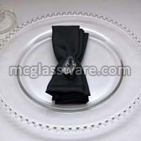 Clear Beads Glass Charger Plate for Wedding and Events