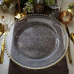 Fabric Gold Beaded Glass Charger Plates