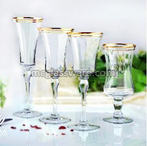 Gold Rimmed Crystal Wine Goblets