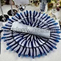 Halley Silver Blue Glass Charger Plates