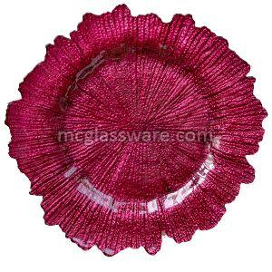 Flora Glass Reef Red Charger Plates