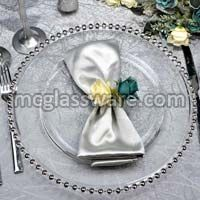 Silver Beaded Clear Glass Charger Plates