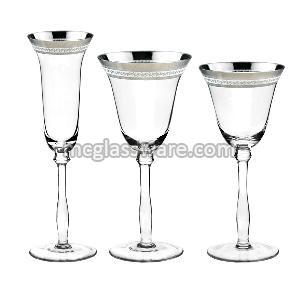 Silver Color Decal Wine Goblets