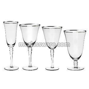 Silver Rimmed Crystal Wine Goblets