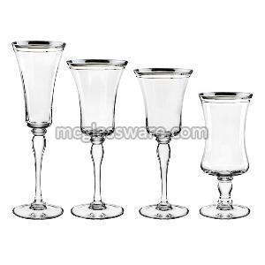 Silver Rimmed Goblet Wine and Water Glass