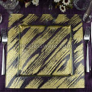 Square Gold Foil Beautiful Glass Charger Plates