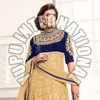 Sayali Bhagat Beige Georgette Semi Stitched Anarkali Suit