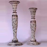 Carved Wooden Candle Holders 03