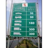 Toll Gate Tariff Sign Board