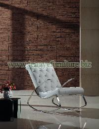 White Leather Rocking Chair