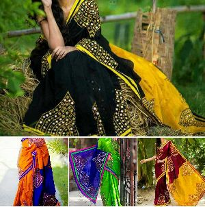 Cotton Silk Gujrati Work Sarees